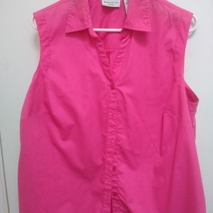 Pink Sleeveless Plus Size Blouse